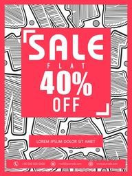 Sale Flyer, Sale Banner, Sale Poster, Flat 40% Discount Offer, Vector illustration with creative background.
