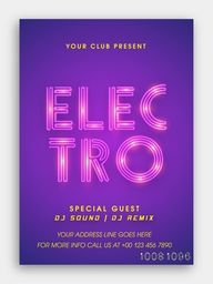 Musical Party Template, Dance Party Flyer, Night Party Banner or Club Invitation with glossy stylish text Electro on purple background.