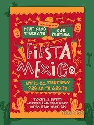 Fiesta Mexico, Kids Fun Festival celebration concept, Creative colorful Template, Banner or Flyer design with date and time details.