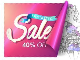 Fantastic Sale Poster, Sale Banner, Sale Flyer, 40% Off, Creative glossy vector illustration.