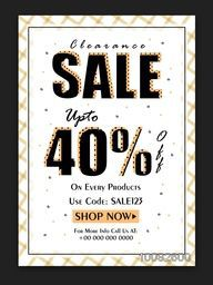 Clearance Sale Poster, Sale Banner, Sale Flyer, Upto 40% Off on All Products, Creative typographical Sale Background.