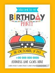 Birthday Party Invitation Card design, Happy Birthday Background with colorful cupcakes on confetti background, Can be used as template, banner or flyer design also.