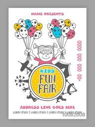 Kids Fun Fair Template, Kids Festival Banner, Carnival Flyer, Kids Party Poster design, Creative doodle illustration of a cute girl holding colorful balloons.