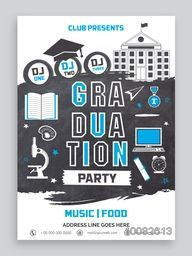Graduation Party Invitation Card design with various creative elements, Can be used as template, banner or flyer design.