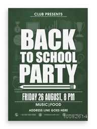 Back to School Party Template, Banner, Flyer or Invitation Card design with various educational equipment on green background.
