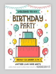 Birthday Party Invitation Card or Welcome Card design, Happy Birthday Background with colorful big cake and flying balloons, Can be used as template, banner or flyer design also.