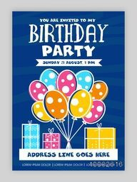 Birthday Party Invitation Card design, Happy Birthday Background with colorful balloons and gifts, Can be used as template, banner or flyer design also.