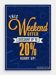 Weekend Sale Template, Sale Banner, Sale Flyer, Discount upto 20%, Vector illustration.