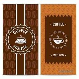 Set of Coffee House Menu Card design with illustration of coffee mugs on cocoa beans decorated background.