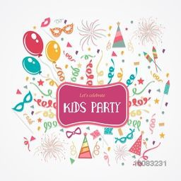 Creative colorful festive Background decorated with balloons, confetti and other elements for Kids Party, Birthday Party celebration. Stylish Poster, Banner or Flyer design.