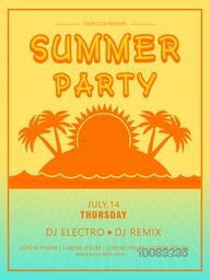 Summer Party Template, Beach Party Banner, Musical Party Flyer or Invitation Card design with illustration of beautiful nature view.