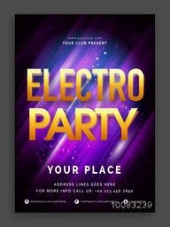 Electro Party Flyer, Musical Night Party Banner, Dance Party Pamphlet, Club Invitation, Elegant Vector Illustration.