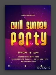 Shiny Golden text Chill Sunday Party on elegant background, Creative Musical Party Flyer, Dance Party Template or Club Invitation design.