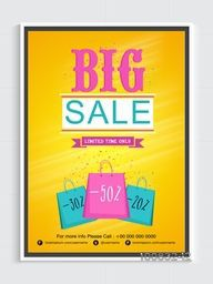 Stylish Big Sale Flyer, Sale Template, Sale Banner, Different Discount Offers for Limited Time Only, Creative Vector Illustration.