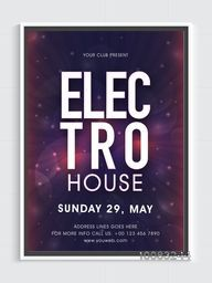 Electro House, Elegant Musical Night Party Flyer, Dance Party Banner, Night Party Pamphlet or Club Invitation design.