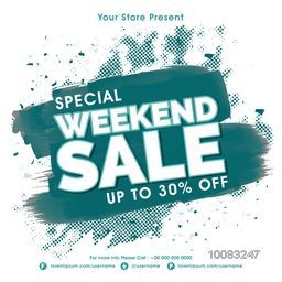 Special Weekend Sale Flyer, Sale Poster, Sale Banner, Discount upto 30% Off, Sale Background, Vector Illustration with abstract paint stroke.