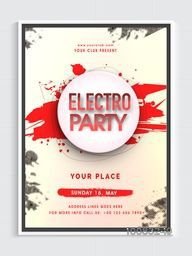 Electro Musical Party Pamphlet, Dance Party Flyer, Night Party Banner or Club Invitation with abstract design.