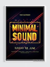 Golden glowing Minimal Sound text design Template, Musical Party Banner, Dance Party Flyer or Club Invitation, Vector Illustration.