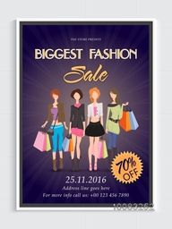 Biggest Fashion Sale Flyer, Sale Banner, 70% Discount Offer, Sale Pamphlet with illustration of young modern girls.