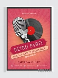 Retro Party Flyer, Vintage Party Invitation, Musical Party Template, Dance Party Flyer with microphone and vinyl.