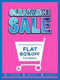 Elegant Clearance Sale Flyer, Sale Pamphlet, Sale Banner, Sale Poster, Flat 60% Discount Offer in All Prodcuts.