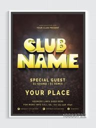 Musical Party Template, Dance Party Flyer, Night Party Banner or Club Invitation Card design with details.