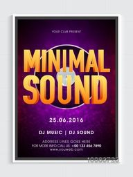 Musical Party Template, Dance Party Flyer, Night Party Banner or Club Invitation. Vector illustration with 3D text Minimal Sound on Vinyl.