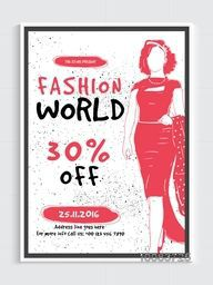Fashion Sale Poster, Banner or Flyer design with illustration of a young fashionable girl.