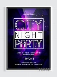 City Night Party Template, Dance Party Flyer, Musical Party Banner or Club Invitation, Vector illustration with shiny abstract background.
