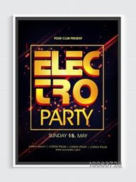 Creative Template, Banner, Flyer or Invitation design with Golden Text Electro Party on shiny background.