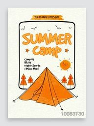 Summer Camp Template, Banner or Flyer design with illustration of tent and trees.