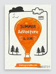 Summer Adventure Template, Banner or Flyer design with illustration of a hot air balloon on grungy background.