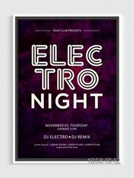 Electro Night Party Template, Dance Party Flyer, Musical Party Banner or Club Invitation design.