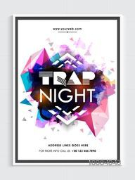 Night Party Template, Dance Party Flyer, Musical Party Banner or Club Invitation with shiny colorful abstract design.