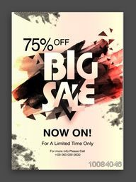 Big Sale Poster, Sale Banner, Sale Flyer, Limited Time Sale, 75% Off, Vector illustration with creative abstract design.