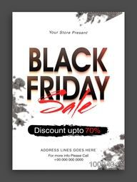 Glossy Black Friday Sale inscription, Sale Poster, Sale Banner, Sale Flyer, Discount upto 70%, Creative vector illustration.
