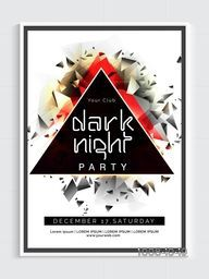 Dark Night Party Template, Dance Party Flyer, Musical Party Banner or Club Invitation decorated with creative abstract design.