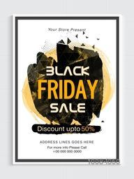 Black Friday Sale Poster, Sale Banner, Sale Flyer, Discount upto 50%, Vector illustration with creative abstract background.
