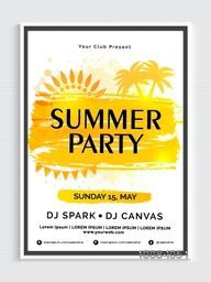 Summer Party Template, Dance Party Flyer, Beach Party Banner or Club Invitation Card. Creative vector illustration.