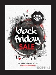 Black Friday Sale Poster, Sale Banner, Sale Flyer, 50% Off, Vector illustration with creative abstract design.
