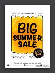 Big Summer Sale Flyer, Sale Banner, Sale Poster, Sale Pamphlet, Discount Upto 65% Off, Vector Sale Illustration.