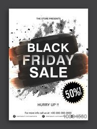 Black Friday Sale Flyer, Sale Banner, Sale Poster, Sale Pamphlet, Discount Upto 50% Off, Vector Sale Illustration with abstract paint stroke.