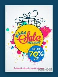 Stylish Sale Flyer, Sale Poster, Sale Banner, Discount Upto 70% Off, Vector Illustration with colorful splash.