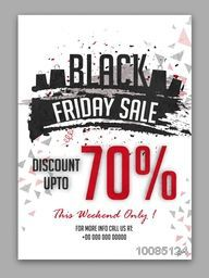 Black Friday Sale, Creative Sale Poster, Sale Banner, Sale Flyer, Weekend Sale, Discount upto 70%, Abstract Sale Background.