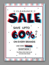 Clearance Sale Poster, Sale Banner, Sale Flyer, Save upto 60% on every brands, Sale Typographical Background, Sale vector illustration.