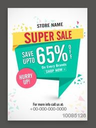 Super Sale Poster, Sale Banner, Sale Flyer, Sale Paper Tag, Save upto 65% Off on every brand, Sale Background, Creative Sale vector illustration.