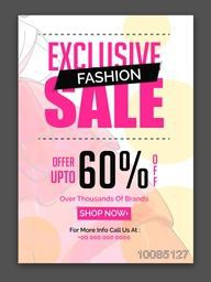 Exclusive Fashion Sale and Discounts, Upto 60% Off, Can be used as Poster, Banner, Flyer, Template or Brochure design, Creative vector illustration.