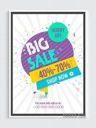 Big Sale Poster, Banner or Flyer design, Flat 40% - 70% off, Creative Paper Tag and Ribbon on rays background.