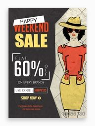 Happy Weekend Sale Poster, Banner, Flyer, Template or Brochure layout, Flat 60% Off on every brands, Vintage vector illustration.