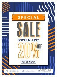 Special Sale Poster, Sale Banner, Sale Flyer, Discount upto 20% off, Sale Typographical Background, Creative vector illustration for Sale.